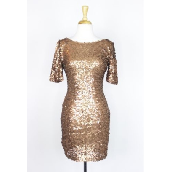 0405e7c144 Ark & Co Dresses | Gold Sequin Dress Small Fitted Party Short Ss ...